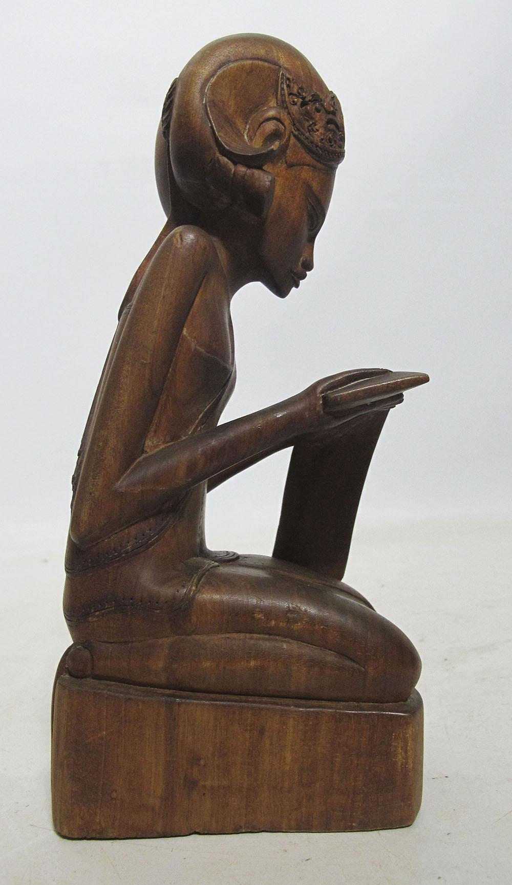 Mid century java bali indonesia wood carving teak beauty